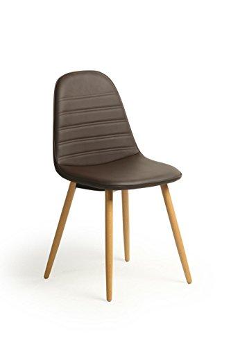 2Stück Retro Vintage Stil Falsch Wohnzimmer Leder Esszimmer/Bürostuhl, solide Beine Beechwood braun (2 Stück Wohnzimmer Chaise)