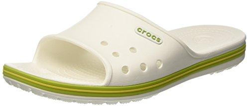 Crocs crocband 2 slide, ciabatte unisex – adulto, bianco (white/volt green), 48/49 eu