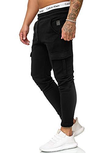 OneRedox Herren Jogging Hose Jogger Streetwear Sporthose Modell 1213 Schwarz XL