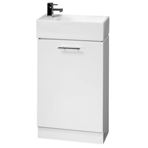 480mm Wide White Gloss Bathroom Vanity Unit with Ceramic Basin Sink - Compact Small Cloakroom Furniture Storage Cabinet - 5 Year Guarantee