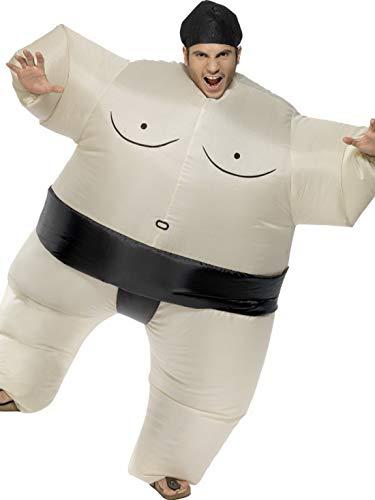 Fancy Ole - Herren Männer Männer japanischer Sumo Ringer Wrstler Kostüm mit aufblasbarem Bodysuit mit Kopfteil, perfekt für Karneval, Fasching und Fastnacht, One Size, Weiß