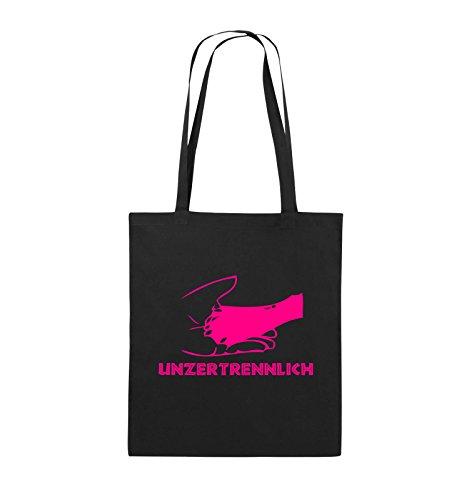 Comedy Bags - UNZERTRENNLICH - HAND PFOTE Hundeliebe - Jutebeutel - lange Henkel - 38x42cm - Farbe: Schwarz / Pink Schwarz / Pink