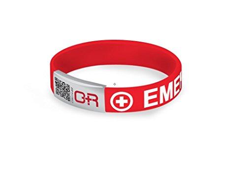 Emergency Medical Band–Schnelle Zugang zu essentiellen medizinischen Informationen–Rot–aeb072(R) (Akita-band)