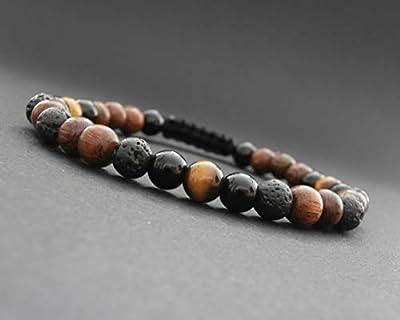 Bracelet homme pierres naturelles de lave, œil de tigre, onyx et bois robles