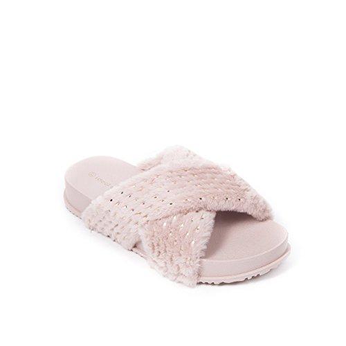 Ideal Shoes Claquettes Croisées en Fausse Fourrure Pailletée Petra Rose