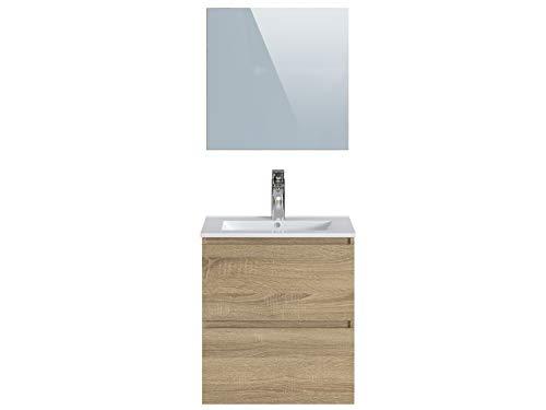 Marca Amazon -Movian Dive - Mueble de baño con espejo y lavabo, 61 x 46,5 x 68 cm, marrón