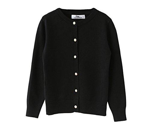 ZHUANNIAN Girls School Cardigan Long Sleeve Pearl Button Down Uniform Schoolwear Cardigans