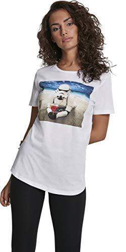 MERCHCODE Damen Ladies Stormtrooper Beach Tee T-Shirt, White, L