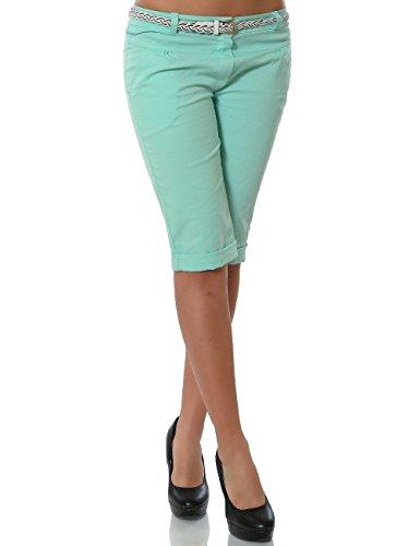 Damen Chino Capri Hose inkl. Gürtel (weitere Farben) No 13934, Farbe:Mintgrün;Größe:40 / L