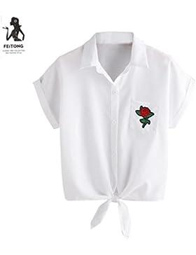 Irina007 2017 Mujeres Blusa Damas Rosa Flor Blusas Camisa Manga Corta Tops