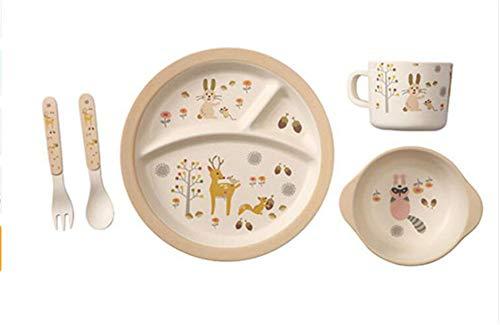 Tianchagn5 pz/set set di stoviglie per cena in cartone animato set di stoviglie in fibra di bambù set di piatti per piatti in lamiera per alimenti per bambini, d