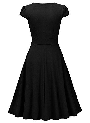MIUSOL Robe de Soirée Casual Manches Courte Peplum Femme,Robe de Fete Col V Vintage Skater Femme Noir