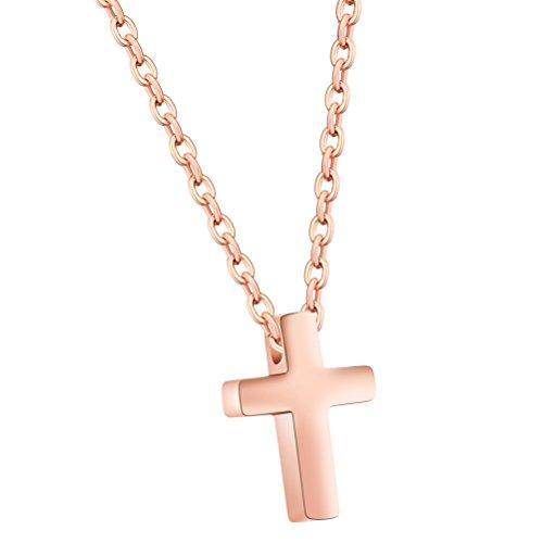 PAURO Damen Zierliche Kleine Kreuz Edelstahl Anhänger Halskette Mit 16 Zoll Kette Rose Gold Überzogen