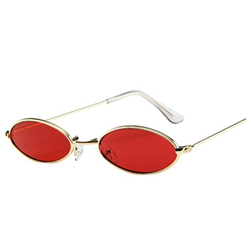 Moonuy Mode Hommes Femmes Retro Petites Lunettes De Soleil Ovales En Métal Cadre Lunettes Rétro Fashion Lunettes Petites lunettes de soleil ovales UV Sunglasses Accessoires (C)