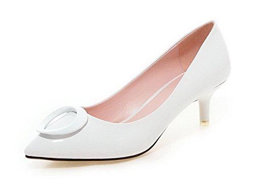 VogueZone009 Femme Pointu à Talon Correct Verni Mosaïque Tire Chaussures Légeres Blanc