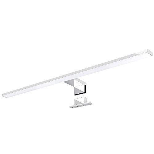 LED Spiegelleuchte 2-in-1 Aufbauleuchte/Klemmleuchte 50cm 6,5W in chrom, IP44, neutralweiß 4000K - für Möbel, Spiegel und Bad