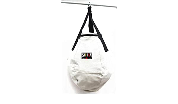 Shihan WHITE CANVAS WRECKING BALL PUNCH BAG BOXING BAG Boxing, Martial Arts 2ft Round Punch Bag (Sold Un Filled)
