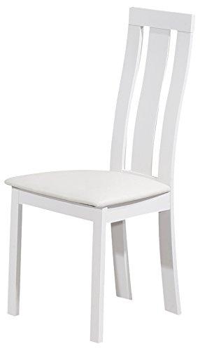 Tuoni Miss Sedia, Legno Laccato, Seduta in Tessuto, Bianco, 2 Pezzi