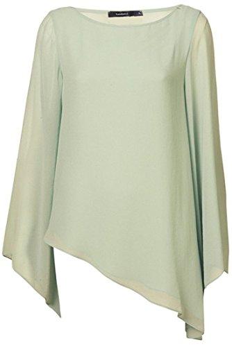 QIYUN.Z Neue Frauen Asymmetrie Stil Rundhals Langarm Casual Tops Blusen Shirt Hellgrün