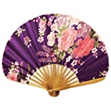 SLB Works Foldable Chinese Style Ribbed Printed Flowers Handled Fan Purple B3Y1