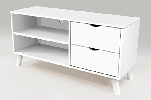ABC MEUBLES - Meuble TV Scandinave Viking Bois - VIKINGTV - Blanc