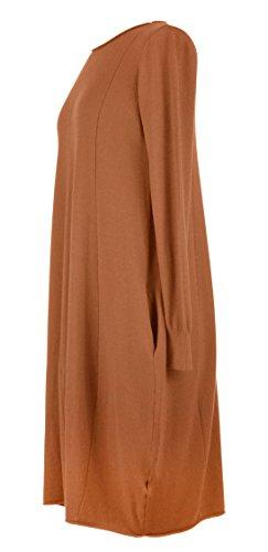 Mesdames Womens Lagenlook excentrique manches longues poche 2 panneau détail Tulip tricot Tunique robe hiver taille UK 8-16 orange brûlé