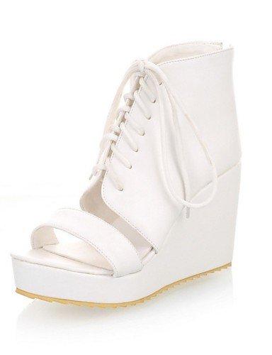 LFNLYX Chaussures Femme-Extérieure / Décontracté-Noir / Blanc-Talon Compensé-Compensées-Sandales-Similicuir Black