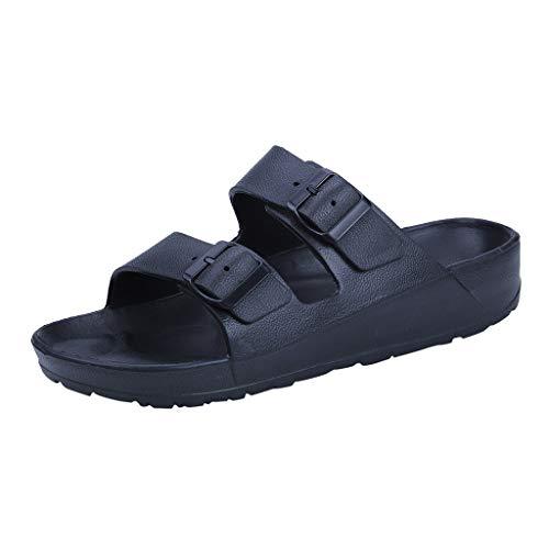 iHENGH Pantofole Piatte da Indossare alla Moda da Uomo Calzature da Spiaggia Sandali con Doppia Fibbia Ultra Leggera Estate(Nero,39)