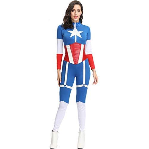 Kostüm Freundin Krieger's - YyiHan Halloween Kostüm, Blau weiblicher Kapitän Avengers Frauen Krieger Set-Spiel-Uniform Cosplay Makeup Halloween-Partei-Kostüm Stage Performance Kostüm