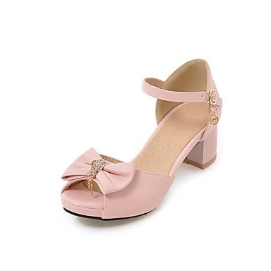 Enochx Donna Sandali Slingback Estate comfort informale in Similpelle Tacco Chunky Bowknot beige