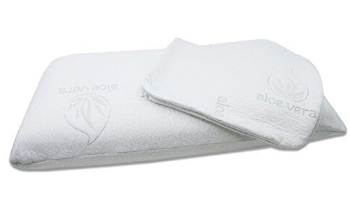 ZOLLNER® Almohada viscoelástica 80 / almohada cervical cama 80-90, tecnología 'espuma con memoria', 40x80x12 cm, en varias medidas, 2 fundas con Aloe Vera, del especialista ZOLLNER, serie 'Velora'
