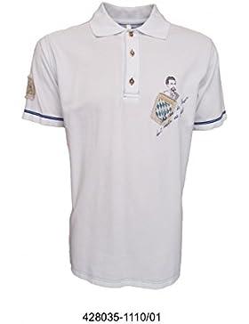 Trachten Poloshirt weiß mit kleinem Aufdruck und blauer Naht