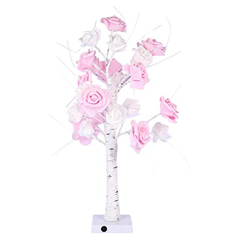 Starnearby Rose Table Lampe, LED Tree Light Simulation Rose Shape Night Light, Bedroom Bedside Lamp Office Decoration Support USB & Battery Dual Power Supply Rosa Rose Night Light