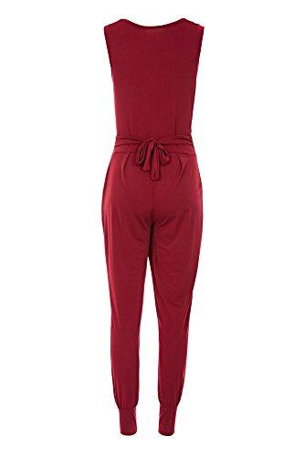 Laeticia Dreams Damen Jumpsuit Catsuit Einteiler Hose Wasserfall Overall S M L XL Weinrot