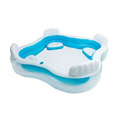 Piscine per Bambini Gomma con Sedile E Adulti Gonfiabili Bath Tub 882 Litri Giardino Esterno 229x229x66cm