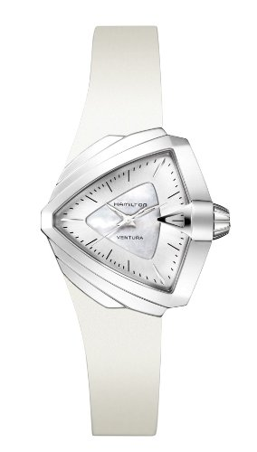 HAMILTON WOMEN'S 34MM WHITE RUBBER BAND STEEL CASE QUARTZ WATCH H24251391