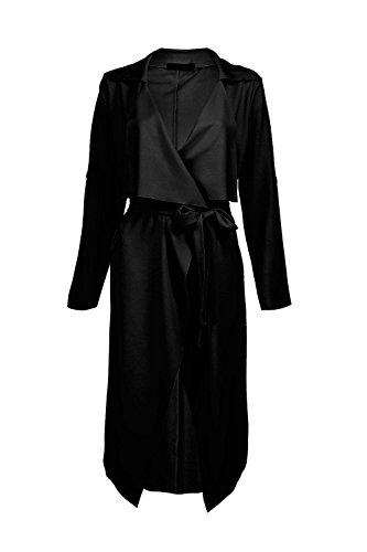 Femmes Noir Jenna Veste Ample Effet Cascade Ceinturée Noir