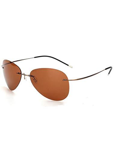 HNPYY Sonnenbrillen Klassische, Rahmenlose, Ultraleichte, Polarisierte Sonnenbrille Aus Titan Herren Randlose Quadratische Sonnenbrille, B