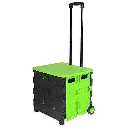 E-starain Einkaufstrolley Einkaufswagen 64 L klappbar bis 35kg, Einkaufstransportwagen Klappbox Shopping Trolley Faltbox mit Rollen,Schwarz-Grün