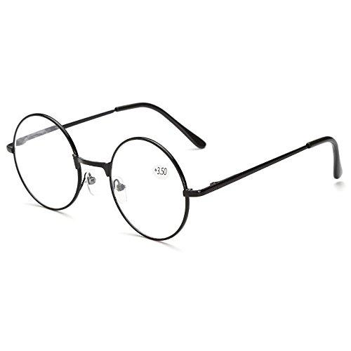 Skitic Retro Runde Metall Lesebrille Brillenrahmen Damen Herren Lesehilfe Stärke Fein Metallrahmen Brille + 1,0 / + 1,5 / + 2,0 / + 2,5 / + 3,0 / + 3,5 / + 4,0 (+3,5)
