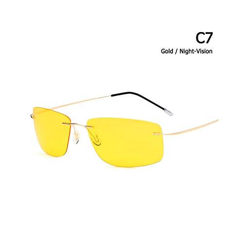 Sportbrillen, Angeln Golfbrille,New Fashion Rimless Square Style Titanium Polarisiert Sunglasses Ultralight Driving Brand Design Sun Glasses Oculos De Sol C7