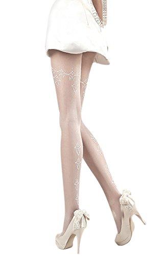 Einfach Schön Weiß Brautschmuck Herz bestickt Strumpfhosen Gr. L, Weiß - (Frauen Dress Einfach Fancy Ideen Für)
