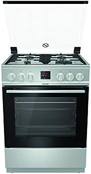 Gorenje GI6320XA, 60 cm Freestanding Gas Cooker, 64 Liters Multifunction Oven,Cast Iron Pan Support, Easy Clea