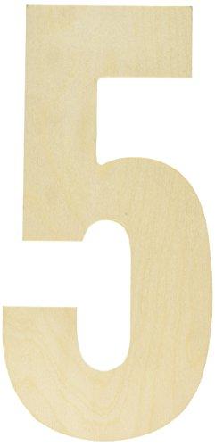 MPI Baltischer Birke Collegiate Schrift Buchstaben und Zahlen, stoßabsorbierender Griff, Nummer 5 -