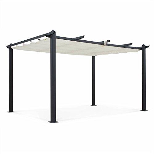 Alice's Garden Pergola Aluminium - Condate 3x4m - Toile écrue - Pergola Idéale pour Votre Terrasse, Toit Retractable, Toile coulissante, Structure Aluminium