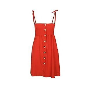 Providethebest Frauen-Feste Spaghetti-Bügel-Knopf-Kleid Backless Abend-Partei-Riemen-Kleid