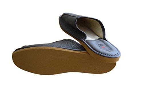Natleat Slippers  Natural Leather Mens Slippers, Sandales Compensées garçon homme Brown / 4