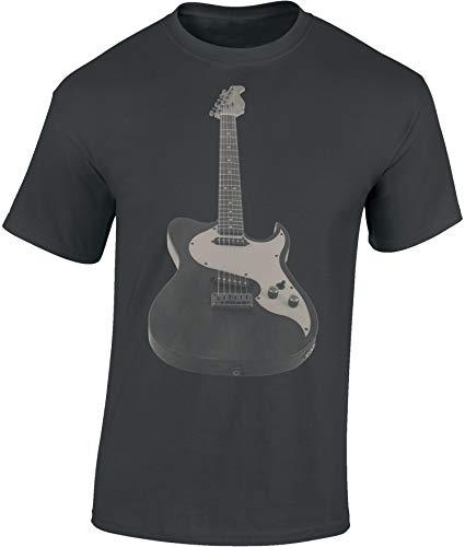 T-Shirt: E-Gitarre - Guitar - Gitarrist-in - Band - Musik Music - Shirt für Herren Damen Mann Männer Frau-en - Fan-s - Rock - Heavy Metal - Bass - Konzert Festival Tour Show - Geschenk (Grau L) - Band-konzert-tour-t-shirt