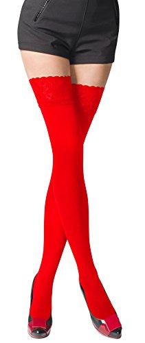 Romartex warme halterlose 80 DEN Mikrofaser Strümpfe mit Spitze, blickdicht, M, rot