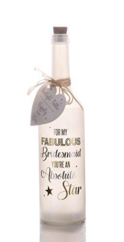 Boxer Gifts - Botella para Dama de Honor, con luz LED en Forma de Estrella, Perla Blanca, Regular, con inscripción en inglés